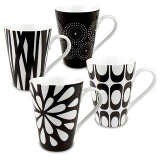 Konitz 'Assorted Design' Black/ White Porcelain Mugs (Set of 4)