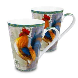 Konitz 'Morning Star' Rooster Porcelain Mugs (Set of 2)