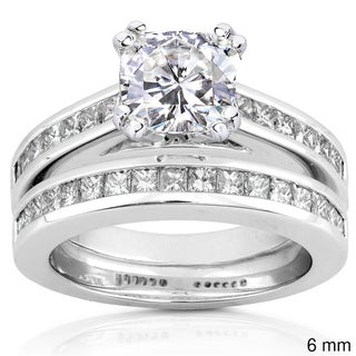 Annello 14k White Gold Moissanite and 1ct TDW Princess-cut Diamond Bridal Ring Set (H-I, I1-I2)