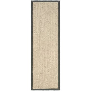 Safavieh Hand-woven Resorts Natural/ Grey Fine Sisal Runner (2' 6 x 6')