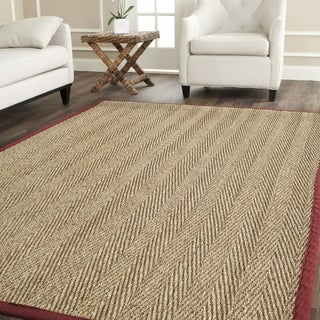 Safavieh Hand-woven Sisal Natural/ Red Seagrass Rug (8' Square)