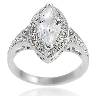 Journee Collection Sterling Silver Marquise Cubic Zirconia Bridal-style Ring