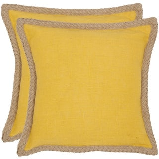 Safavieh Sweet Serona 18-inch Yellow Decorative Pillows (Set of 2)