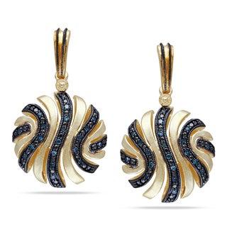 Haylee Jewels Yellow-plated Silver 1/5ct TDW Blue Diamond Dangle Earrings