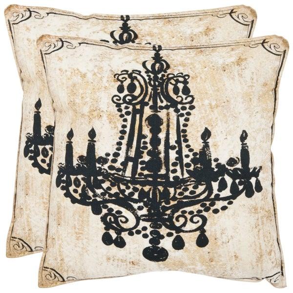 Safavieh Velleron 20-inch Antiqued Beige Decorative Pillows (Set of 2)