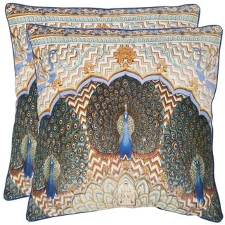Safavieh Raj Peacock 20-inch Ivory/ Purple Decorative Pillows (Set of 2)