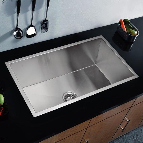 Water Creation SS-U-3319A 33 x 19-inch Zero Radius Single Bowl Stainless Steel Hand Made Undermount Kitchen Sink