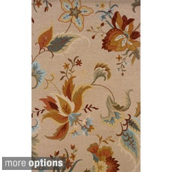 Hand-tufted Indoor Beige and Gold Wool Area Rug