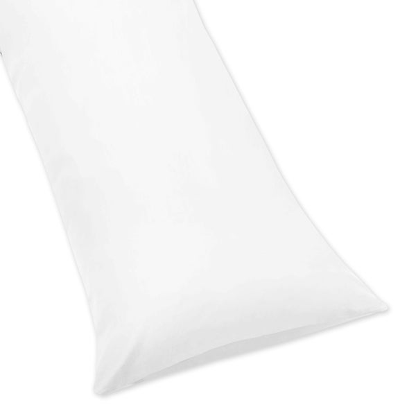 Sweet Jojo Designs 100-percent Cotton White Full Length Double Zippered 200 Thread Count Body Pillow Cover