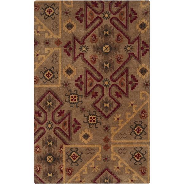 Hand-tufted Tan/Red Southwestern Aztec Gebze Wool Rug (8' x 11')