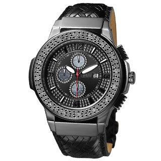 JBW Men's Black Ion-Plated Steel Diamond Leather Watch