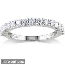 Miadora 14k White Gold 1/4 to 1ct TDW Round Diamond Wedding Band (G-H, I1-I2)