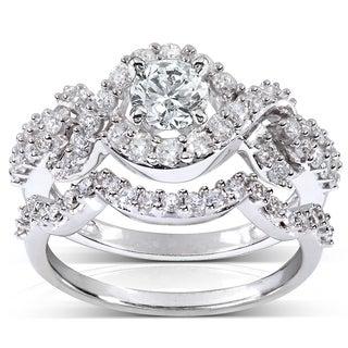 Annello 14k White Gold 1 1/4ct TDW Diamond Braided Bridal Ring Set (H-I, I1-I2)