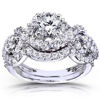 14k White Gold 1 1/4ct TDW Diamond Braided Bridal Ring Set (H-I, I1-I2)