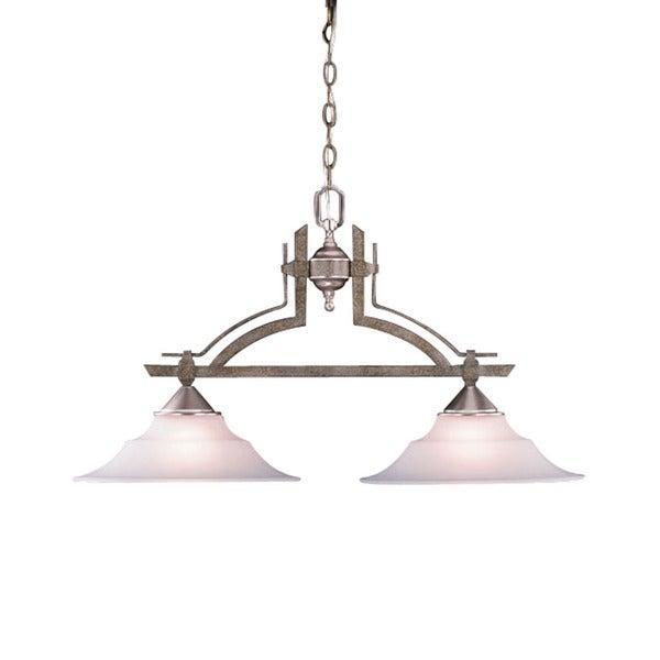 Transitional 2-light Tuscan Gold Island Light Fixture