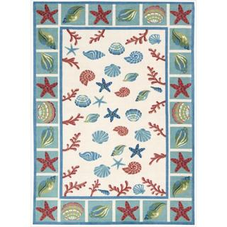 Shoreline Seashell and Starfish Ivory Polyester Rug (5' x 7')