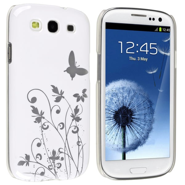 BasAcc White Flower/ Butterfly Slim Case for Samsung Galaxy S III/ S3