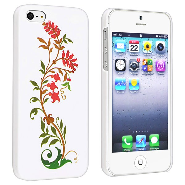 BasAcc Flower Style 54 Snap-on Rubber Coated Case for Apple iPhone 5