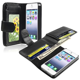 INSTEN Leather Phone Case Cover with Wallet for Apple iPhone 5/ 5S