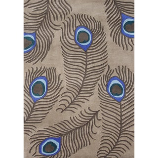 Alliyah Handmade Peacock Tannin New Zealand Blend Wool Rug (9' x 12')