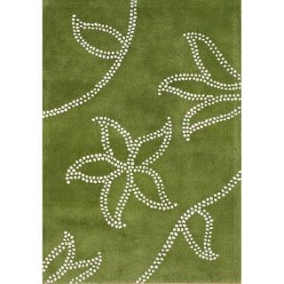 Alliyah Handmade Green New Zealand Blend Wool Rug (9x12)