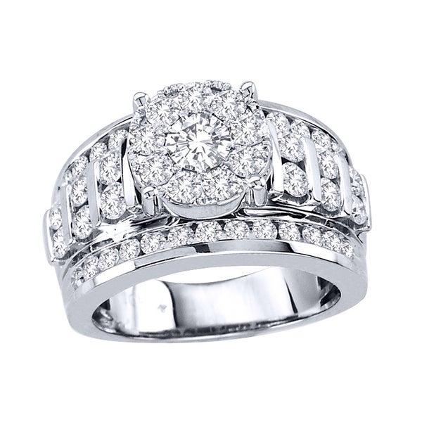 De Couer 10k White Gold 2ct TDW Multi Stone Diamond Ring (H-I, I2)