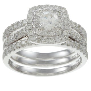  10k White Gold 1 1/2ct TDW Diamond Double Halo Bridal Ring Set (H-I, I2)