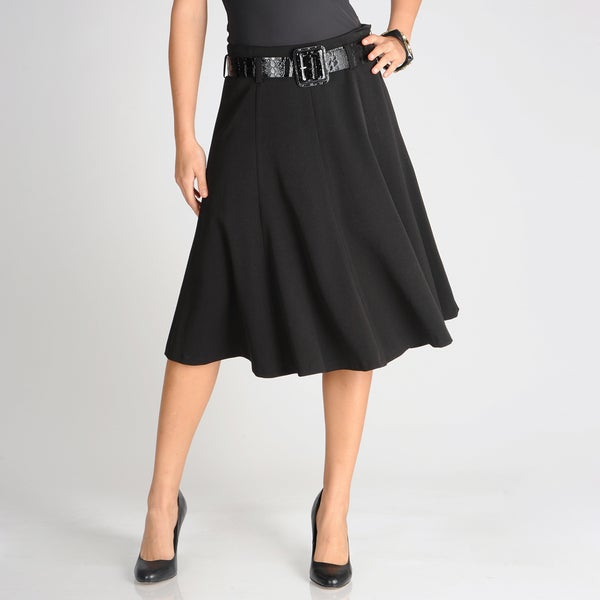 Grace Elements Women's Black Gored Flared Skirt with Patent Belt