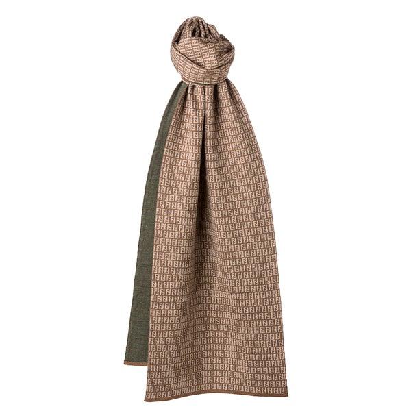 Fendi Beige/ Olive Zucchino Wool Knit Scarf