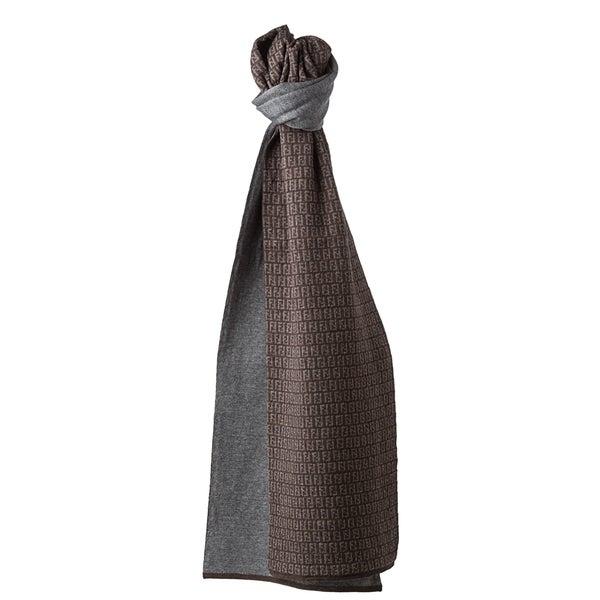 Fendi Brown/ Grey Zucchino Wool Knit Scarf