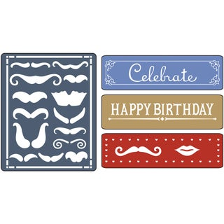 Sizzix Textured Impressions Embossing Folders 4/Pkg-Mustache