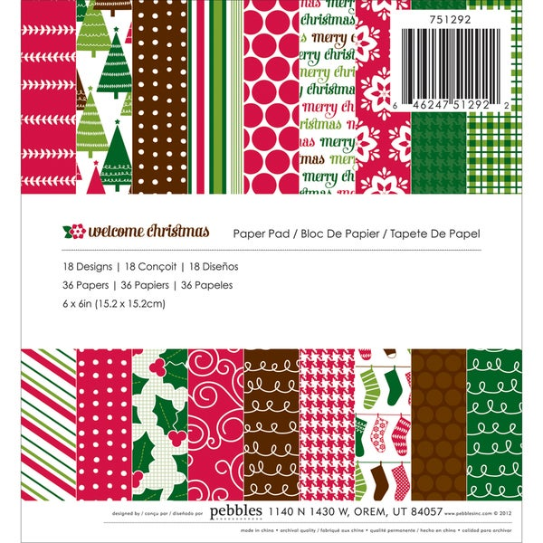 "Pebbles Paper Pad 6""X6"" 36/Sheets-Welcome Christmas, 18 Designs/2ea"