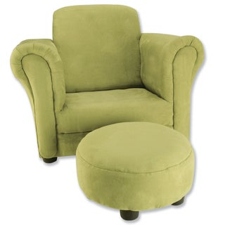 Trend Lab Avocado Green Ultrasuede Club Chair and Ottoman Set