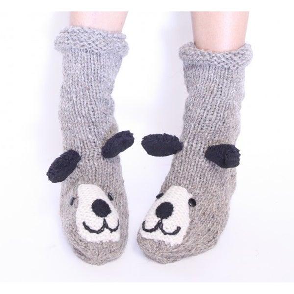Grey Fleece Puppy Socks (Nepal)