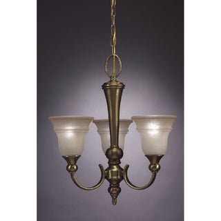 Transitional 3 light Chandelier in Antique Brass