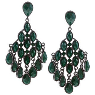 Black-plated Green Faceted Resin Teardrop Chandelier Earrings