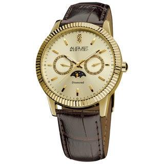 August Steiner Men's Swiss Quartz Multifunction Diamond Leather-strap Watch