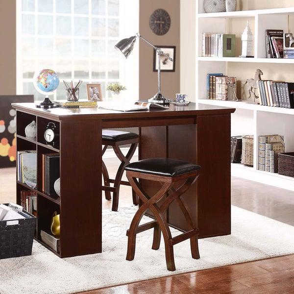 TRIBECCA HOME Jaidyn Espresso 3-piece Counter Height Storage Dining Set