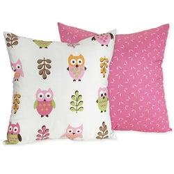 Sweet JoJo Designs 'Happy Owl' Pink Reversible 16-inch Decorative Pillow