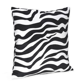 Sweet JoJo Designs Black/ White Zebra Print 16-inch Decorative Pillow