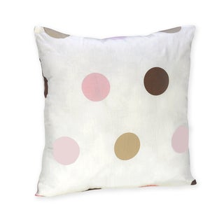 Sweet Jojo Designs Pink and Brown Modern Polka Dot Throw Pillow