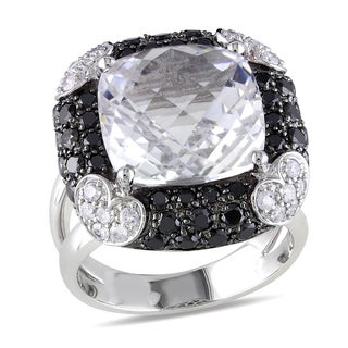 Miadora Signature Collection 14k White Gold 1 3/4ct TDW Diamond and Crystal Ring (G-H, I1-I2)