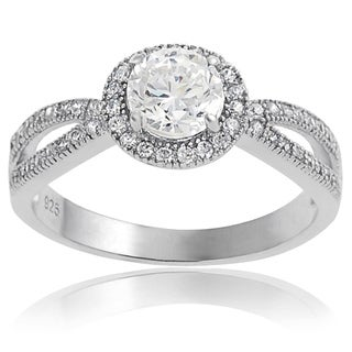 Journee Collection Sterling Silver Round Cubic Zirconia Engagement-style Ring