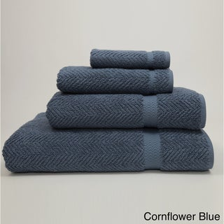 Authentic Plush Herringbone Weave Hotel and Spa Turkish Cotton 4-piece Towel Set with Bath Sheet
