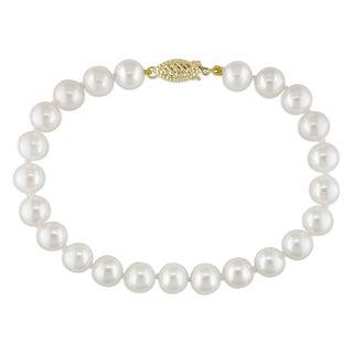 Miadora 14k Yellow Gold White Cultured Freshwater Pearl Bracelet (7-7.5 mm)