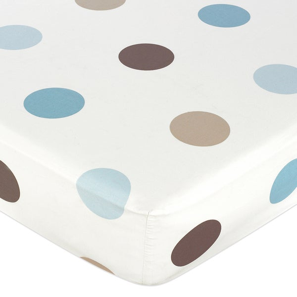 Sweet JoJo Designs Blue and Brown Mod Dots Fitted Crib Sheet