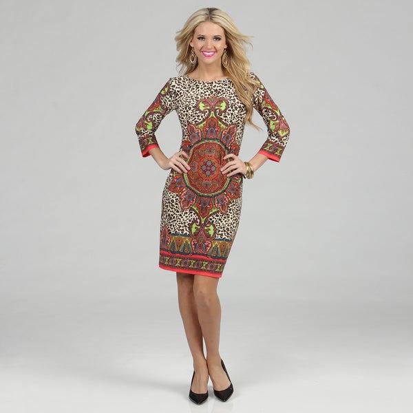 London Times Women's Matte Jersey Printed 3/4-length Sleeve Dress