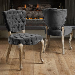 Christopher Knight Home Bates Tufted Charcoal Fabric Dining Chairs (Set of 2)