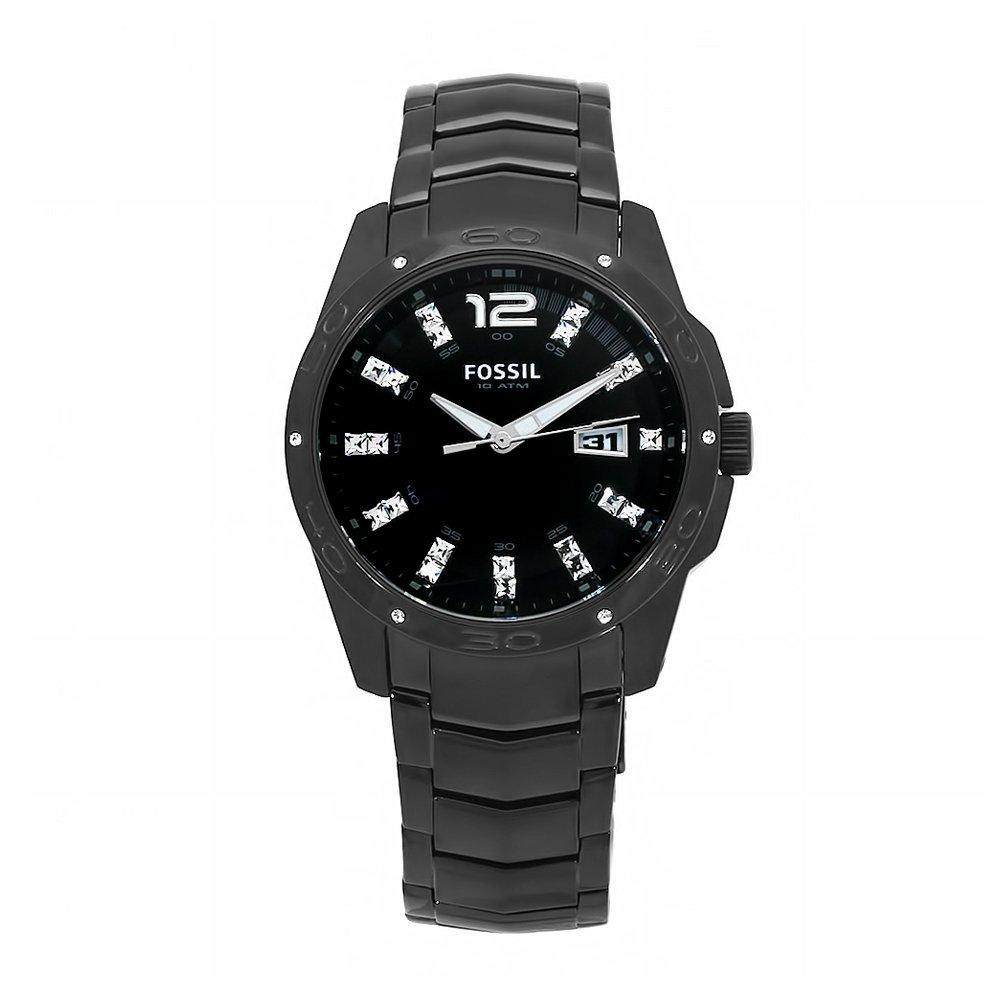 Fossil Men's Glitz Stainless Steel Black Dial Analog Watch