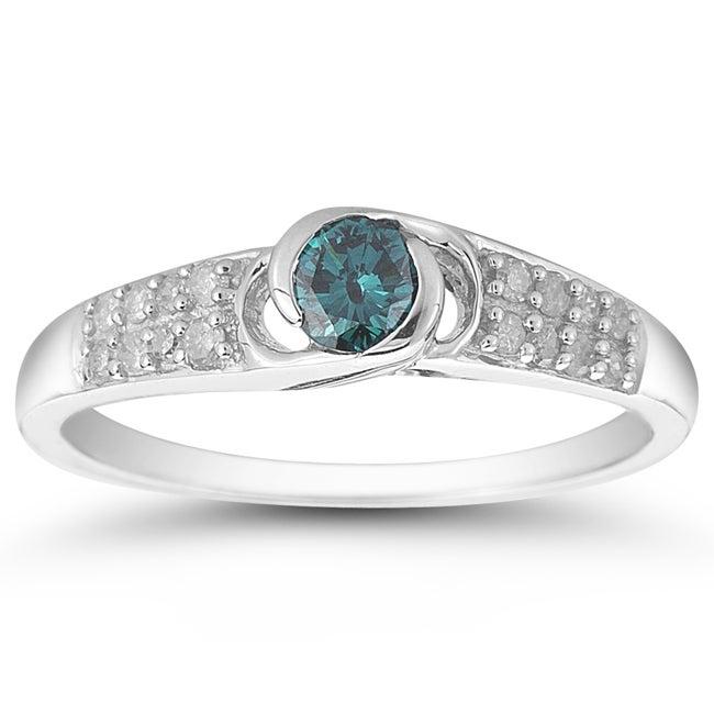 10k White Gold 1/2ct TDW Blue and White Diamond Ring (I-J, I1-I2)